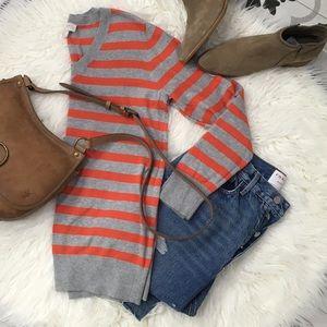 LOFT Striped V Neck Sweater